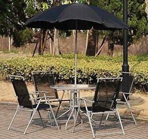 Bistro Set 6pc Outdoor Furniture Patio Aluminum 4 chairs & table