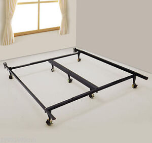 Queen bed frame, central support, adjustable, great shape