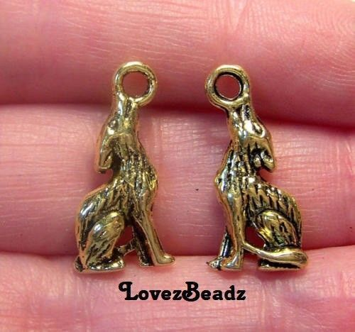 15 Gold Howling Coyote Charms-Small-Wildlife-Up North-$30 ORDERS SHIP FOR FREE