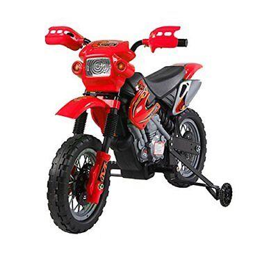 HOMCOM Moto da Cross Elettrica per Bambini con Rotelle, Rossa