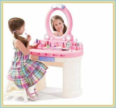 Pink Princess Make Up Vanity Table For Little Girls With Brush Comb Stool Mirror ()
