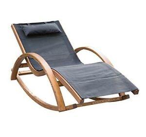 Chaise Longue Berçante de Plage Piscine Cadre en Bois