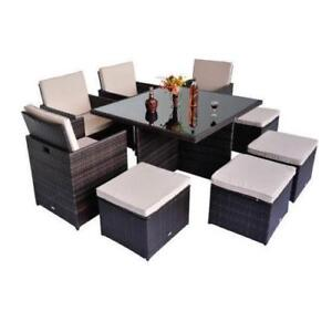 Deluxe 9Pcs Rattan Wicker Dining Room Sofa Table Set Outdoor Patio Furniture / Brand New in box factory direct call me