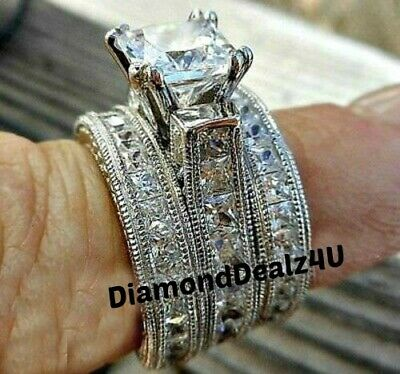 5.25ct Princess cut Engagement Wedding Band Diamond Ring Solid 14k white Gold Princess Cut Diamond Ring Band