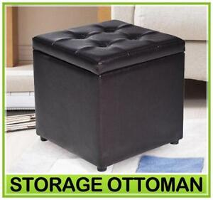black leather ottomans