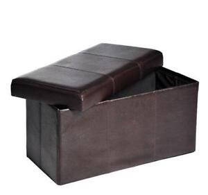 Brown Leather Storage Benches