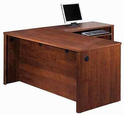 Office Furniture Laminate L Shaped Office Desk With Tuscany Brown Finish