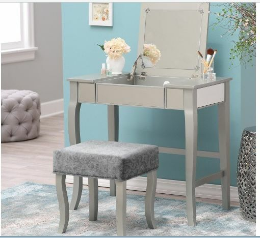 Mirrored Vanity Table Set Console Desk Stool Modern Makeup Dressing Bedroom  Gray