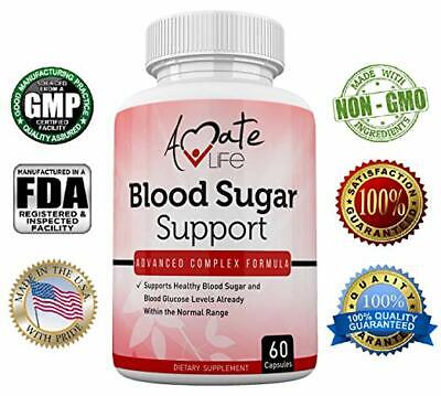 Amate Life Blood Sugar Support Supplement - Cholesterol Control Pills - 60 Caps Controlling Blood Sugar