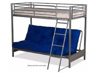 Silver metal double futon bed with single bunk bed.