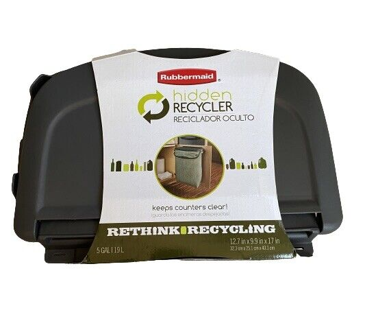 Rubbermaid Hidden Recycler with Machine Washable Bag and Built In Handles Green