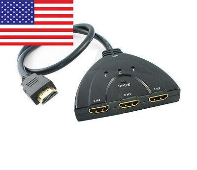 3 Port HDMI 1080p Auto Switch Splitter Hub Pigtail 1.3b for HD Video & Audio TV