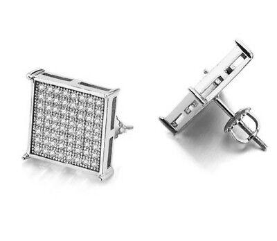 Silver Micro Pave Screwback 16mm Big Flat Square Simulated Iced Diamond Earrings Diamond Micro Pave Square