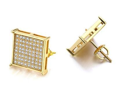 14K Gold Plated Micro Pave Screwback 16mm Big Square Simulated Diamond Earrings Diamond Micro Pave Square