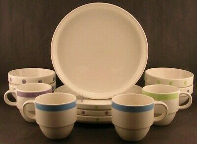 12pc Mulberry Home Collection Pastel Polka Dot Dinnerware Set Serv 4 VGC](Polka Dot Dinnerware Sets)