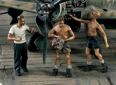 Verlinden 1/48 Luftwaffe Ground Crew Summer WWII 3 Figures [Resin] 1332