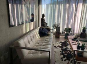 Stylish Custom Made White Leather Sofa