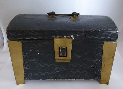 Metallschatulle Metallkassette um 1910 / Messing + Eisen Jugendstil