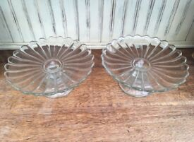 Vintage thick glass cake stand