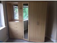 Wardrobe with bedside cabinet