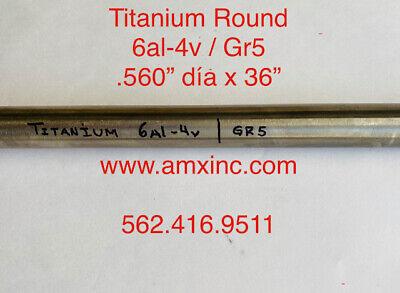 Titanium Round Bar 6al-4v .560 Dia X 36 Long