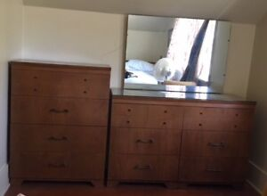Chest of Drawers & Mirrored Dresser with Glass Top