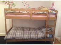 Solid pine bunk beds including two good quality pocket sprung mattresses