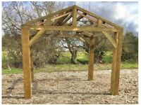 new 3m x 3m wooden car port hot tub bbq shelter
