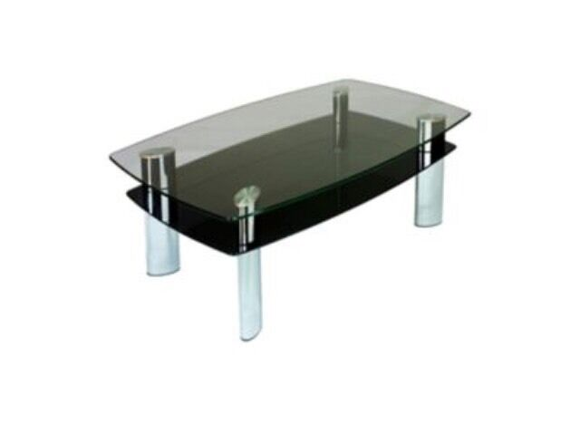 Harveys Carla Coffee Table Black Glass Chrome Boat Range