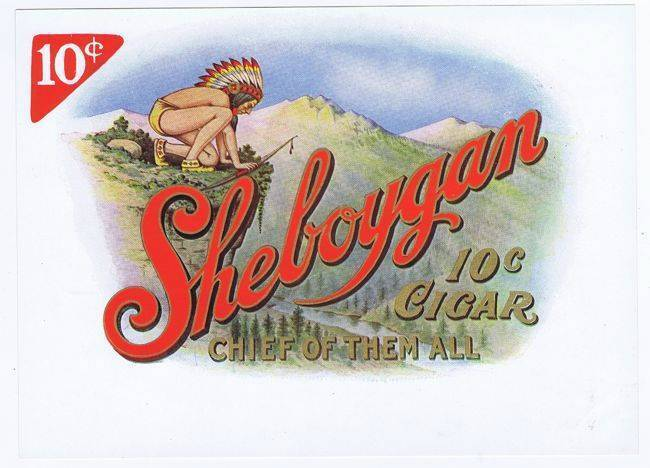 Sheboygan, original cigar box label, native american indian