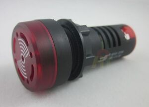 DC/AC 12V 22mm Red LED Flash Alarm Indicator Light Lamp with Buzzer 80dB new