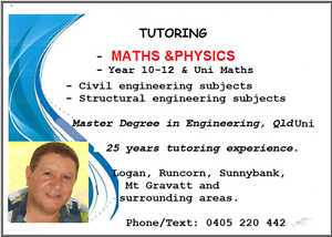 MATHS  &  PHYSICS Tuition  Year 11 – 12  TAFE & Uni Springwood Logan Area Preview