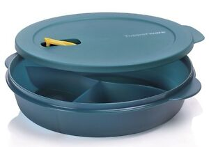 grande assiette crystalwave bleue tupperware 3 compartiments pour micro ondes ebay. Black Bedroom Furniture Sets. Home Design Ideas