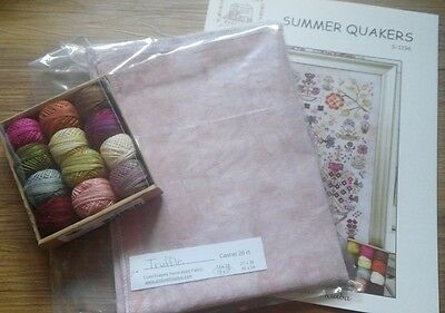 Rosewood Manor Summer Quakers Chart.Valdani threads.Linen.Worldwide shipping. World Linen Pattern
