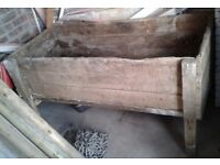 Large original antique wooden cattle feed trough - ideal as is or for a planter