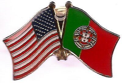 LOT OF 3 Portugal Friendship Flag Lapel Pins - Portugal Crossed Flag Pin