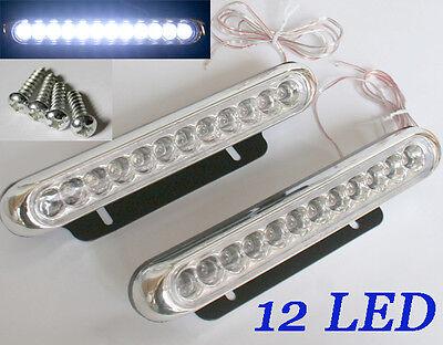 2 Auto Mini 12 LED Nebelscheinwerfer Tagfahrlicht Panel Weiß 6000K 12V DC
