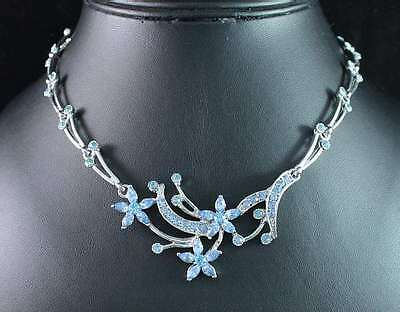 FLOWER BLUE AUSTRIAN RHINESTONE CRYSTAL PENDANT NECKLACE CHAIN 15 INCHES LONG