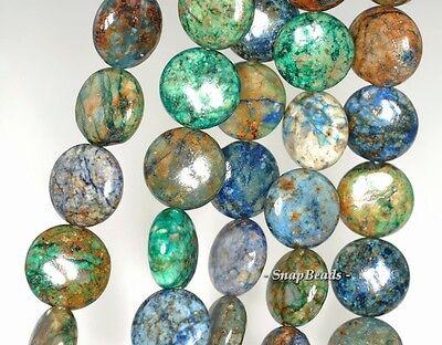 - 12MM CHRYSOCOLLA GEMSTONE GREEN BLUE FLAT ROUND CIRCLE COIN LOOSE BEADS 15.5