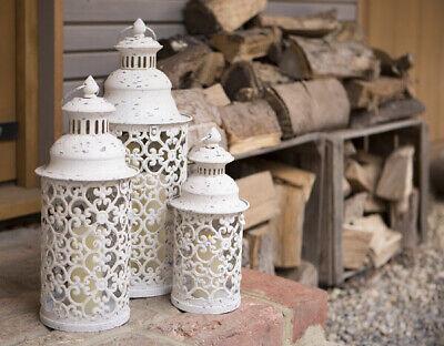 Set of 3 White Metal Round Garden or Indoor Lanterns 46cm, 37cm & 29cm high