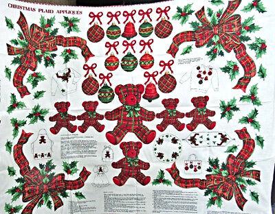 Red Bows,Bears 'Christmas Plaid Appliques' Craft Fabric Panel,VIP Cranston