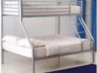 Triple bunk bed metal frame silver