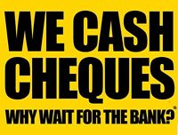 CHEQUES CASHING SERVICE @1.89%