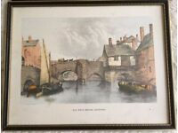 Old West End Bridge Leicester sketch with frame