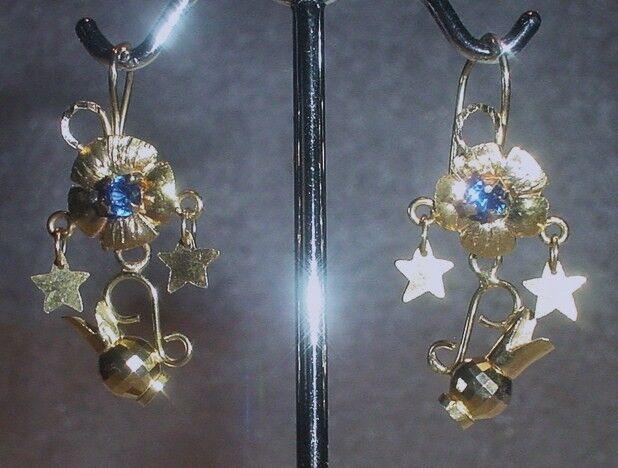 14K YELLOW GOLD VINTAGE ORNATE DANGLING EARRINGS  -  LB1729