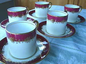 RARE Collection 6 English AYNSLEY Antique Coffee Cup Saucer Set