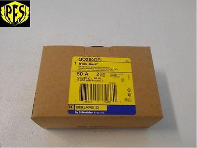 New In Box -nib- Square D Qo250gfi Qo 2 Pole 50 Amp Ground Fault Breaker