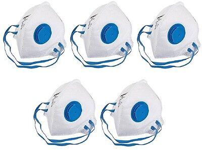 5 x Face Mask Respirator FFP2 Valved Sanding Paint Aerosol Dust Bodyshop Safety