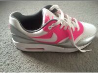 White, Pink & Silver Nike Air Max Trainers, size 5.5
