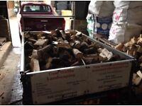 Seasoned hardwood logs firewood trailer full